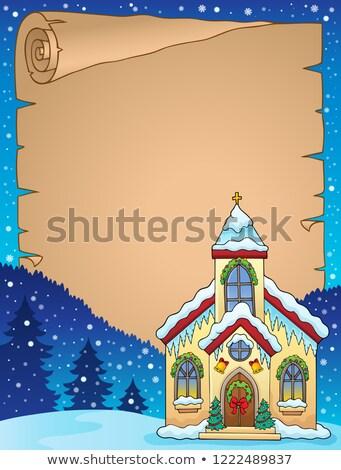 Navidad edificio de la iglesia pergamino papel edificio arte Foto stock © clairev