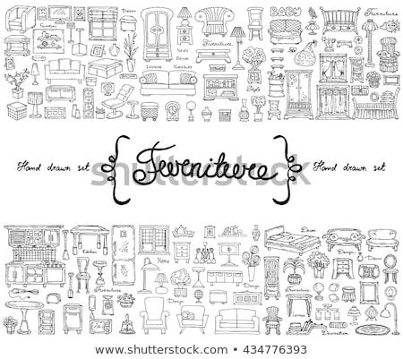 Kézzel rajzolt konyha bútor rajz stílus ház Stock fotó © Arkadivna
