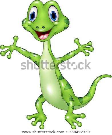 gelukkig · cartoon · gekko · illustratie · naar - stockfoto © cthoman