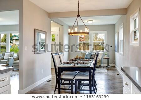 Licht grijs interieur eetkamer witte keuken Stockfoto © iriana88w