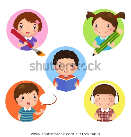 Kid Girl Song Writing Illustration Stock photo © lenm