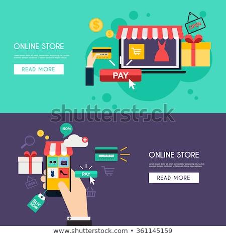 女性 · ショッピング · を · 美人 · ラップトップを使用して · 買い - ストックフォト © decorwithme