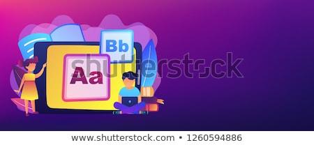 Crianças digital conteúdo bandeira crianças Foto stock © RAStudio