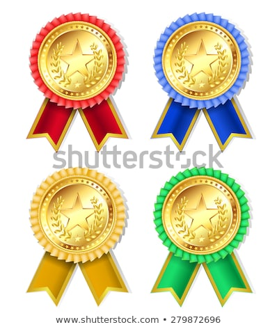 Gold Awarding Medal with Silk Ribbon for Winner Stock photo © robuart