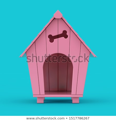 Dogs in pink pet house Stock photo © colematt