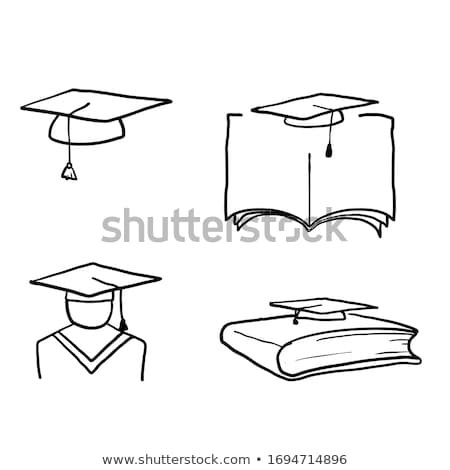Bachelor in graduation cap hand drawn sketch icon. Stock photo © RAStudio