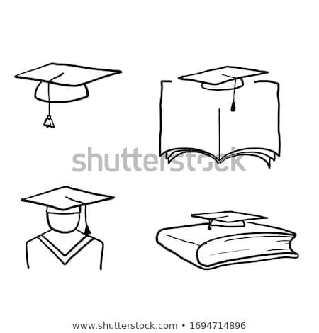Cap · выпускник · сертификата · рисованной · икона - Сток-фото © rastudio