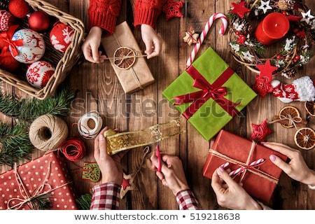 Neşeli Noel hazırlık baba kız vektör Stok fotoğraf © robuart
