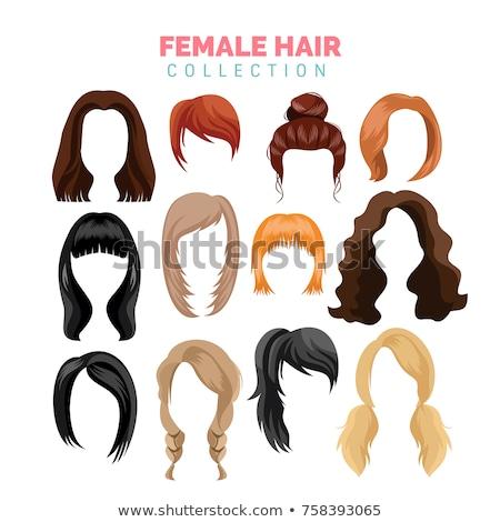 set of girl with brunette bun hair stock photo © bluering