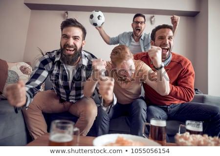 adolescente · casal · futebol · fãs · bonitinho - foto stock © dolgachov