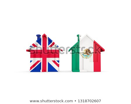 Two houses with flags of United Kingdom and mexico Stock photo © MikhailMishchenko