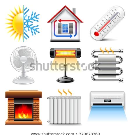 Valósághű fűtés radiátor irányítás izolált fehér Stock fotó © netkov1
