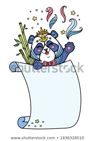 Panda · несут · шаблон · логотип · изолированный · голову - Сток-фото © bluering