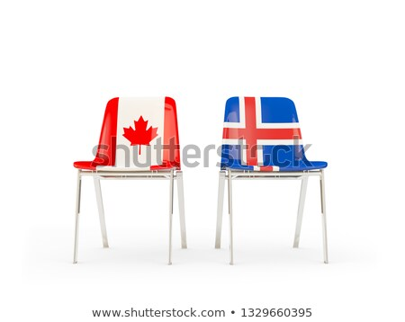 Two chairs with flags of Canada and iceland Stock photo © MikhailMishchenko