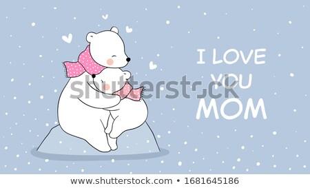 love bears hugging poster vector illustration stock photo © robuart
