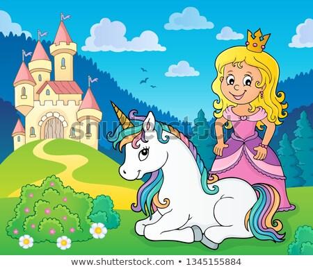 princess and unicorn near castle theme 1 stock photo © clairev