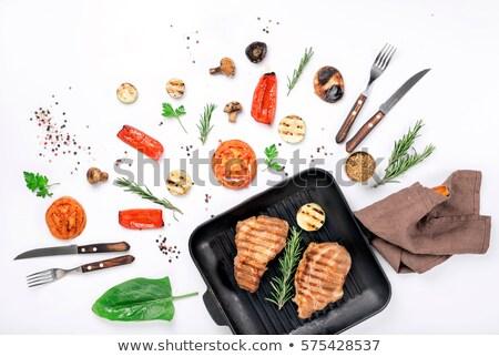 Biefstuk varkensvlees grill variëteit gegrild groenten Stockfoto © Illia
