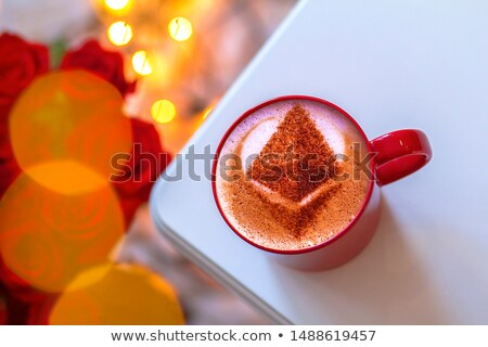 Cup of coffee with ethereum symbol Stock photo © netkov1