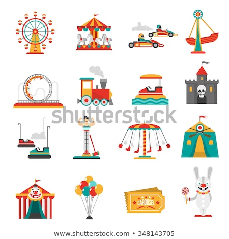 Amusement park flat icon set Stock photo © netkov1