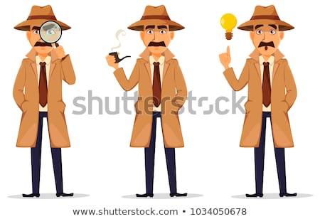 Ingesteld detective karakter illustratie ontwerp veiligheid Stockfoto © colematt