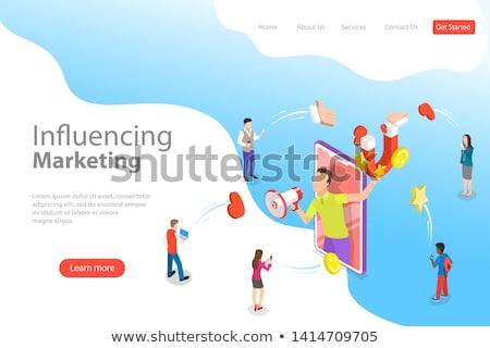 Sharing content online isometric 3D landing page. Stok fotoğraf © RAStudio