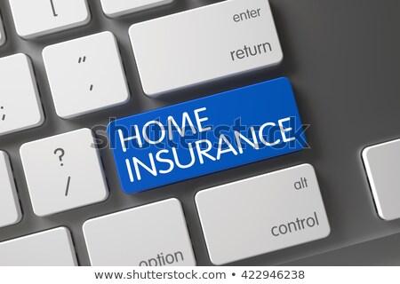 Home Insurance - Text on the White Keyboard Button. 3D. Stok fotoğraf © tashatuvango