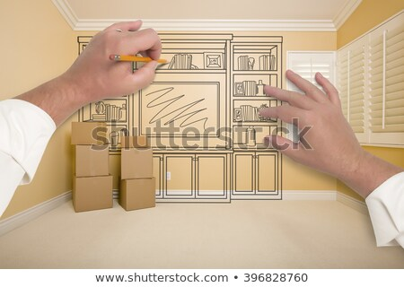empty room with moving boxes and entertainment unit drawing on w stock photo © feverpitch