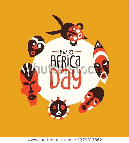 Africa Day card of tribal african mask art Stock photo © cienpies