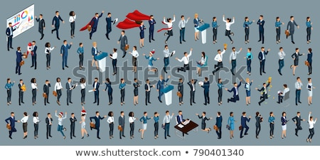 business people isometric 3d illustration set stock photo © rastudio