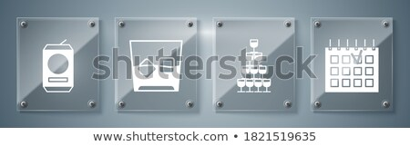 Square Glass With Rum Brandy And Ice Cubes Vector Stock photo © pikepicture