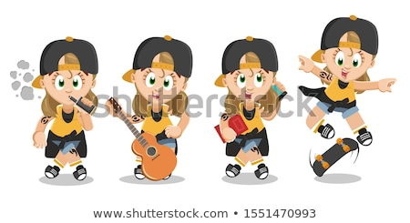 skater going with phone and skateboard vector stock photo © robuart