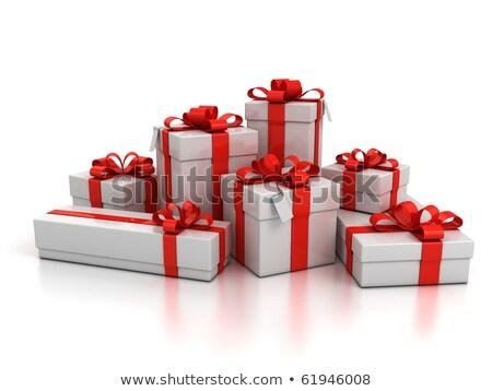 Piros fehér ajándékok izolált Stock fotó © Wetzkaz