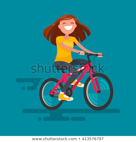 jonge · glimlachende · vrouw · fiets · vector · cartoon · geïsoleerd - stockfoto © tikkraf69