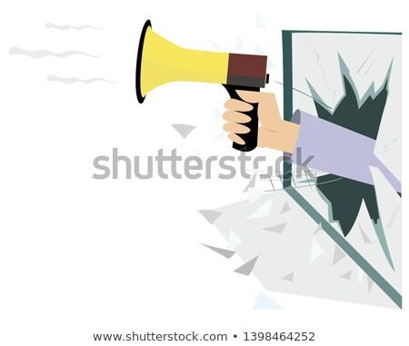 mão · megafone · janela · isolado · ilustração · quebrado - foto stock © tiKkraf69