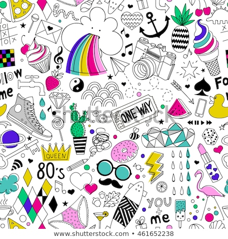 rajz · aranyos · firkák · kézzel · rajzolt · fánkok · végtelen · minta - stock fotó © balabolka