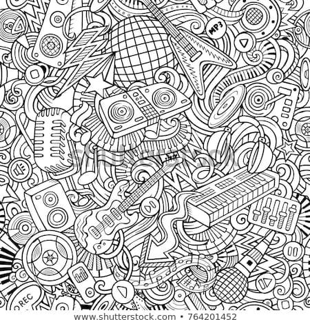 Stock photo: Cartoon Cute Doodles Disco Music Illustration