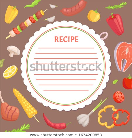 Recipe Page Mockup, Kebab and Vegetables, BBQ Stock photo © robuart