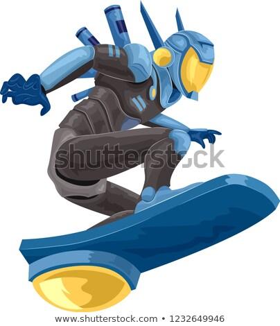 Robot rendőrség illusztráció fantázia lovaglás biztonság Stock fotó © lenm