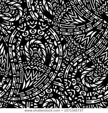 Monokróm végtelen minta mozaik téma végtelen virágmintás Stock fotó © lissantee