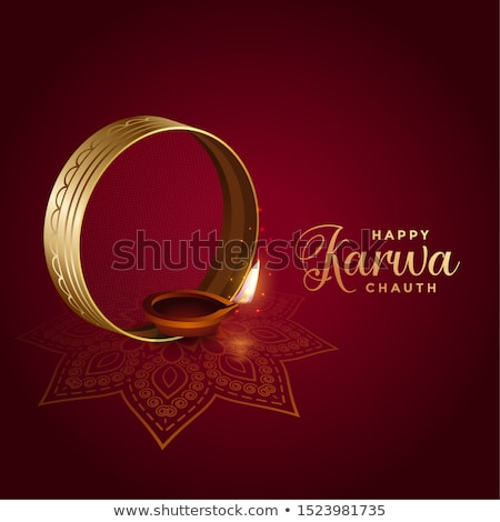 happy karwa chauth decoration with full moon design Stock photo © SArts