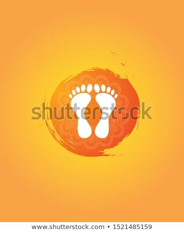 happy dhanteras festival greeting with feet print Stock photo © SArts