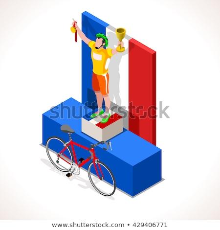Kerékpáros pódium nyertes bicikli illusztráció vicces Stock fotó © tiKkraf69