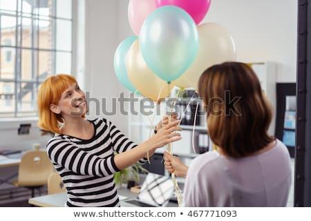 gelukkig · cake · kantoor · verjaardagsfeest · corporate - stockfoto © boggy