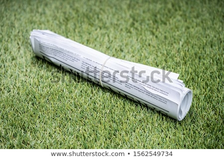Gazeteler lastik bant yeşil ot çim iş Stok fotoğraf © AndreyPopov