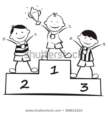 Zwycięzca podium cartoon kolor ilustracja pierwszy Zdjęcia stock © barsrsind