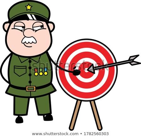 Vicces katona portré gépfegyver arc törvény Stock fotó © nomadsoul1