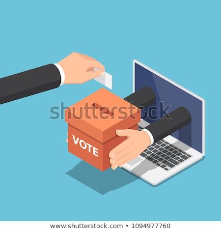 Elektronicznej głosowanie komputera online line mężczyzna Zdjęcia stock © vectorikart