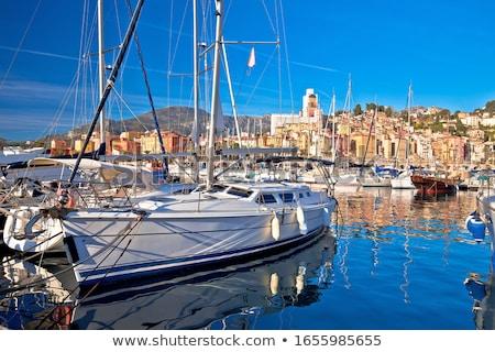 Menton. Luxury sailing harbor of Menton at Cote d Azur view Stock photo © xbrchx