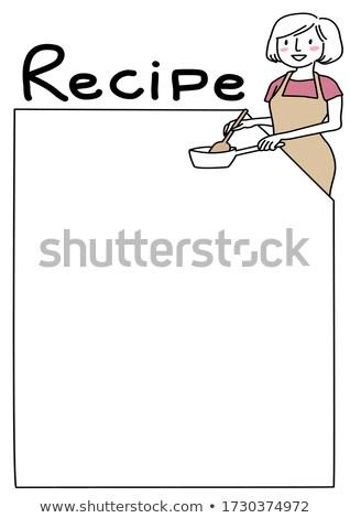 Receita nota mulher cozinhar comida livro de receitas Foto stock © robuart