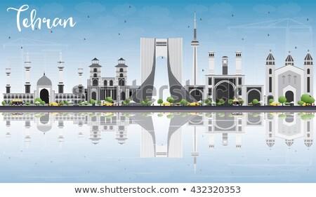 Skicc Teherán sziluett kék tükröződések üzleti út Stock fotó © ShustrikS